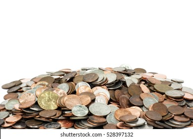 Pile of US coins with copy space above. Horizontal.
