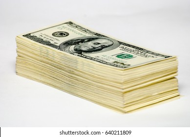 The pile of US federal reserve notes $100