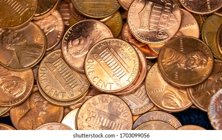 Pile of US Lincoln Pennies