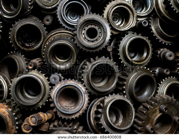 Pile Used Machine Parts Oily Rusty Stock Photo (Edit Now