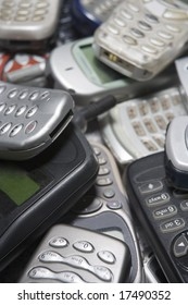 Pile Of Used Mobile Phones