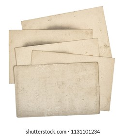 Pile of used paper cards isolated on white background