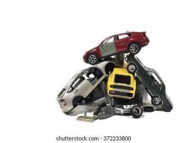 Pile of used wrecked cars in Junkyard (models)
