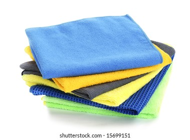 Pile of various multicolor microfibre cloths