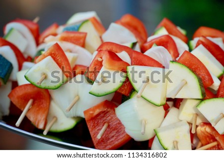 Pile of vegetable brochette on a tray