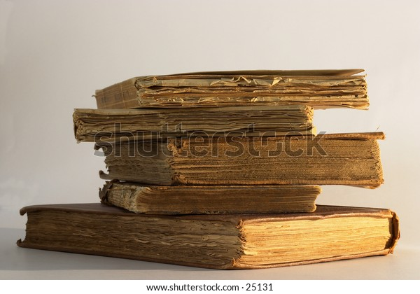 A pile of very old books