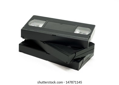 Pile of VHS cassette isolated on white