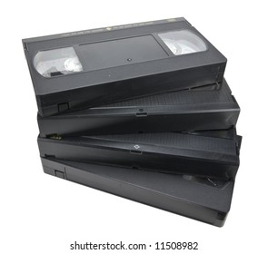 Pile of vhs cassettes, isolated on white, clipping path included.