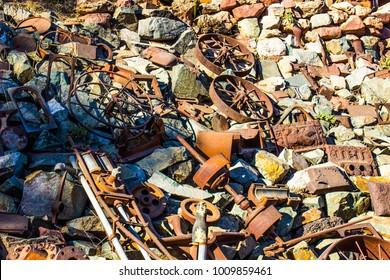 Pile Of Vintage Rusty Iron Debris In Junk Yard