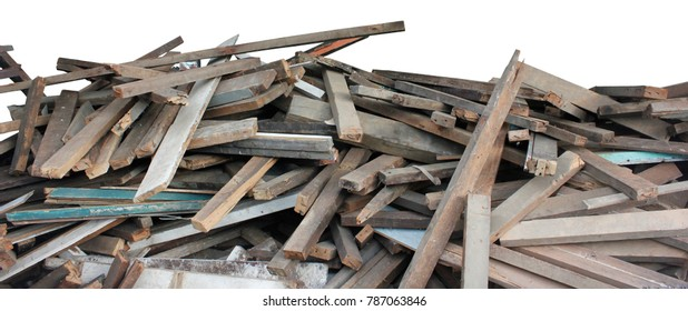 Pile of waste stick wood in isolated.