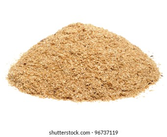 Pile of Wheat Bran Isolated on White Background