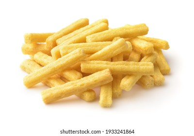Pile of wheat puffed sticks isolated on white