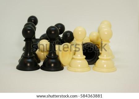 Pile White Black Pawn Chess Pieces Stock Photo (Edit Now