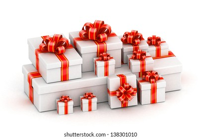 Pile of white gift boxes with red ribbon