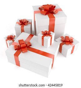 Pile of white gifts with red ribbons isolated on white and with clipping path