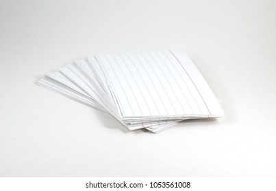 Pile of white lined index cards - isolated