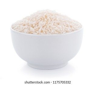 Pile of white rice in bowl on white background