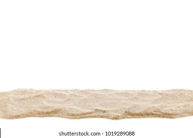 Pile of white sand isolated on white background for summer design and nature summer season background