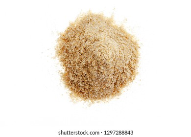 Pile of white sand on white background for summer design and nature summer season background.