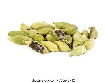 Pile of whole cardamom isolated on white background