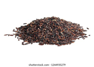 Pile of wholegrain Riceberry in isloated transparent background. Healthy eating grains food concept.