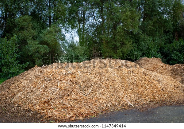 A pile of wood chips to be used for landscaping and mulching
