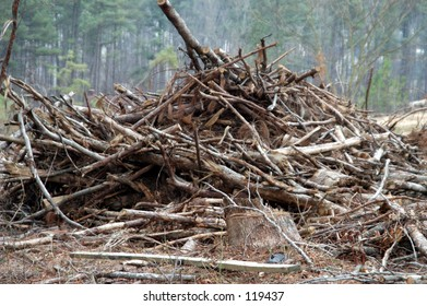 pile of wood debris to build a road