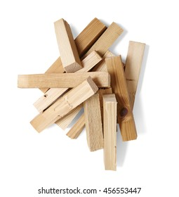 A pile of wood fire kindling isolated on a white background