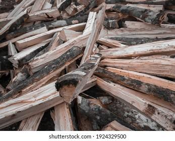pile of wood fuel cleavage