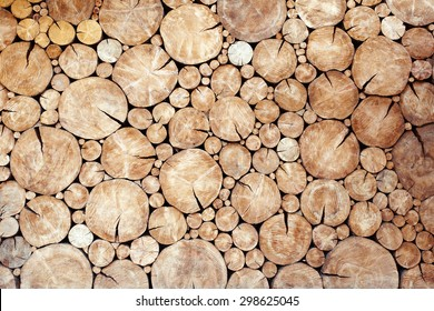 Pile of wood logs as background