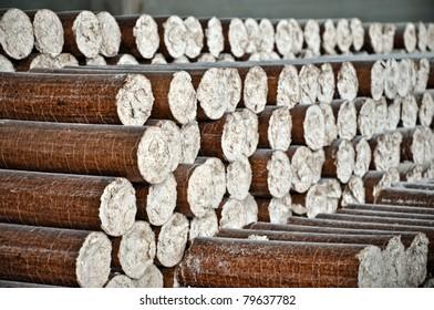 Pile of wood pellets