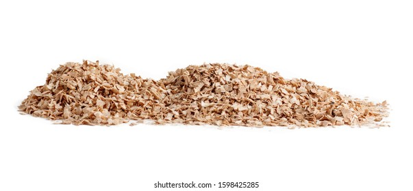 pile of wood sawdust scattered isolated on a white background