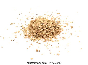 Pile of wood shavings isolated on white background