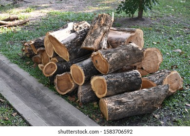 A pile of wooden logs on the ground.