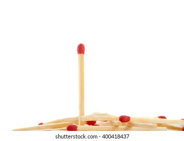 Pile of Wooden matches isolated over the white background