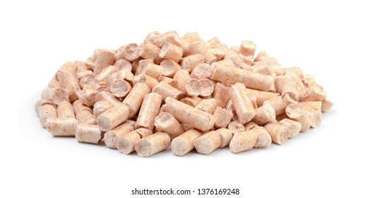 Pile of wooden pellets isolated on white background