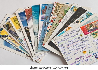 Pile of written postcards. Postcrossing footage. Postal mail. 2018