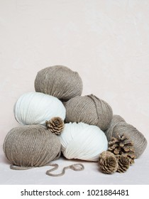 Pile of yarn for knitting