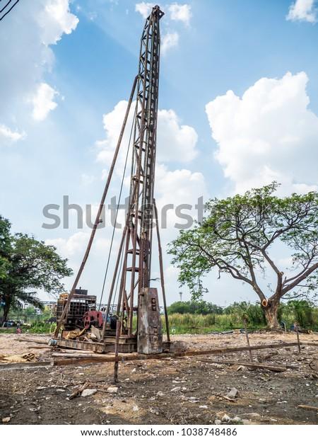 Piledriving Equipment Type Drop Hammer Iron Stock Photo