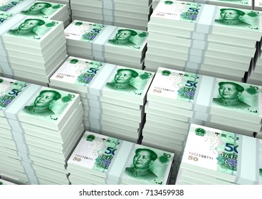 Piles of 3D rendering / 3D illustration China money