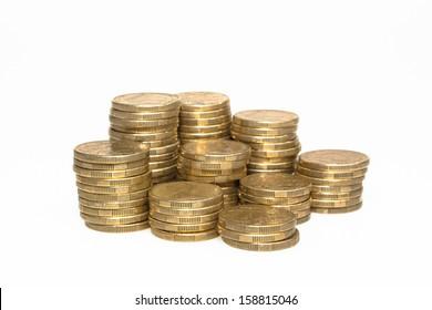 Piles of Australian Dollar Coins