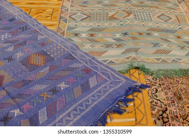 Piles of carpets in the medina of Fes, Morocco, Africa