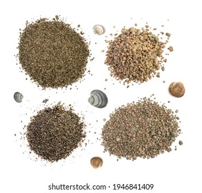 Piles of coarse gray sand isolated top view. Construction gravel and shell rock of different sizes collection
