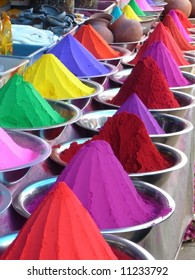 Piles of colored dyes in market, Mysore, India