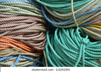 Piles of colorful rope used to tie the lobster buoy to the lobster traps