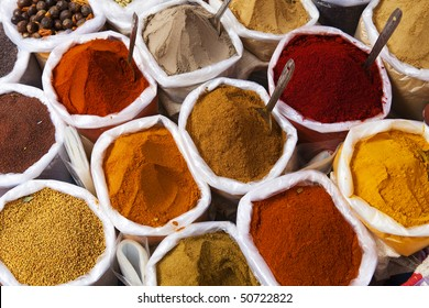 Piles of colourful spices, Anjuna market