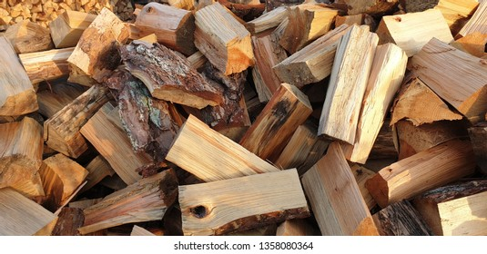 Piles of cut wood for fire