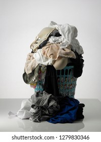piles of dirty clothes on the white background