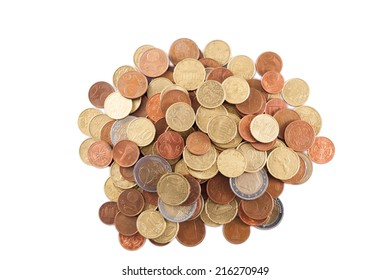 piles of Euro coins isolated on white background