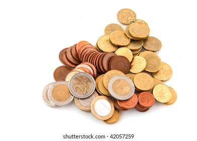 piles with Euro coins isolated over white